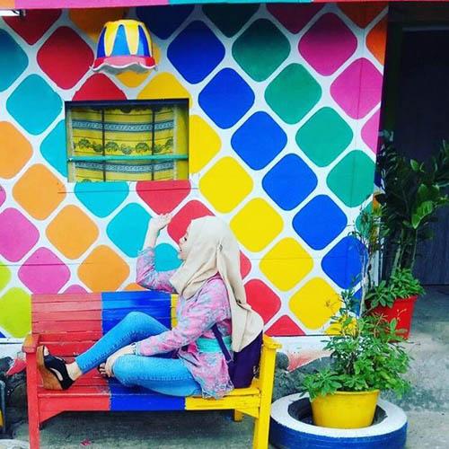 деревню раскрасили в разные цвета