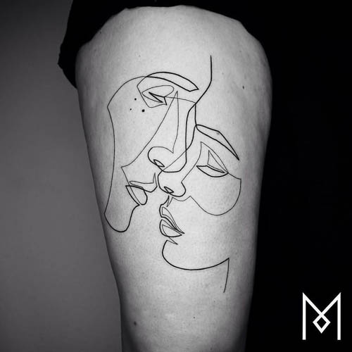 татуировки из одной линии