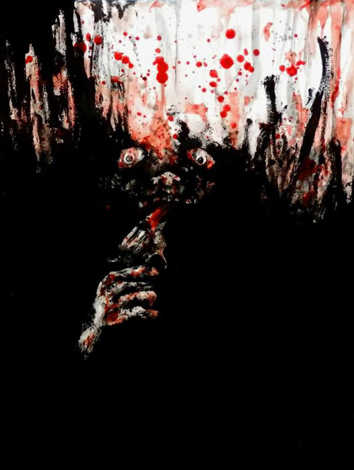 художник рисует своей кровью