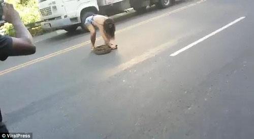 женщина убрала питона с дороги