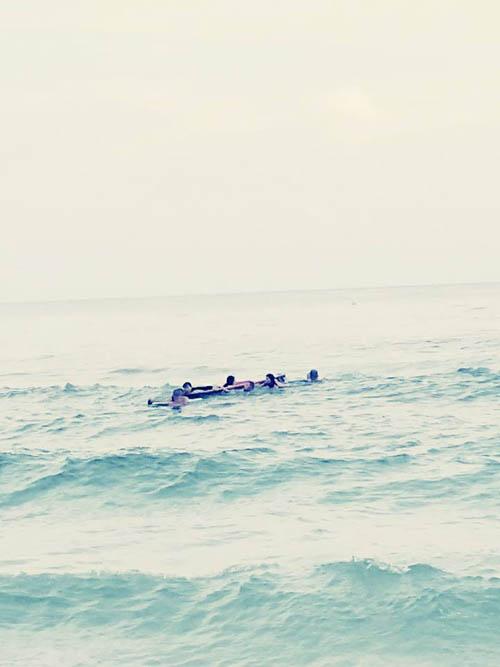 героические посетители пляжа