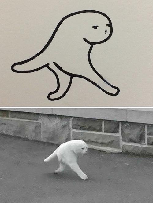 плохо нарисованные кошки