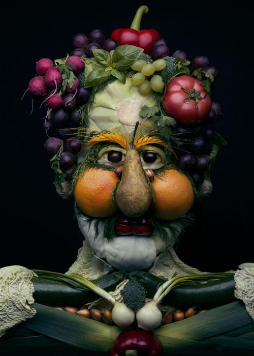 портреты из овощей и фруктов