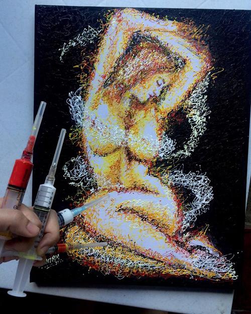 искусство с помощью шприцев