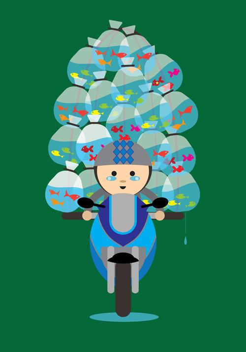 грузы на мотоциклах и велосипедах