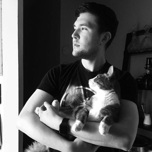 мужчина обнимается с кошками