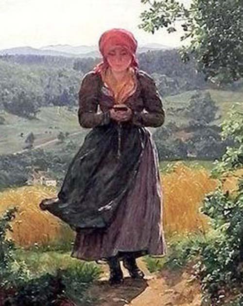девушка со смартфоном на картине
