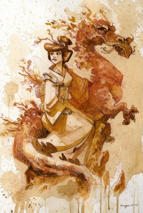 художник рисует картины чаем