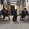 полицейская собака отжимается