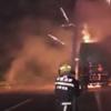 грузовик с фейерверками загорелся