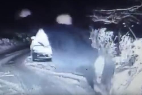полицейский упал в снег