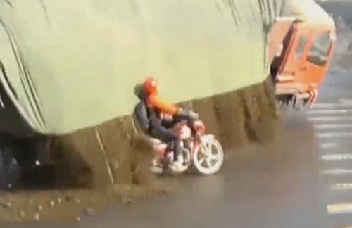 мотоциклисту повезло в дтп