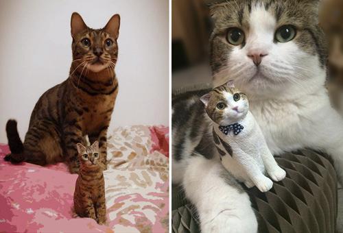миниатюрные скульптуры кошек