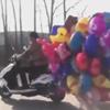 воздушные шарики на мопеде