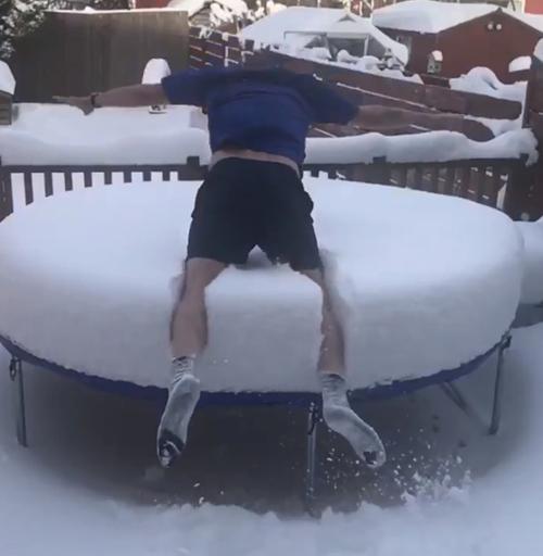 отец семейства прыгнул в снег