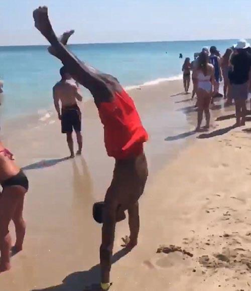 неудачное сальто на пляже
