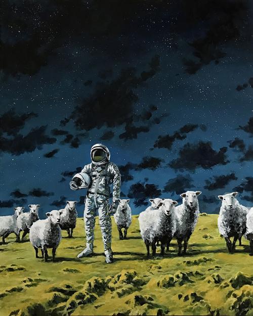 картины с космонавтами и овцами
