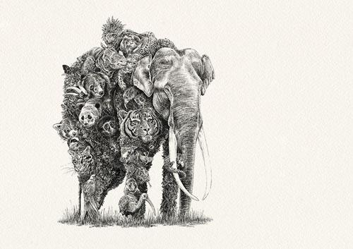 замысловатые портреты животных