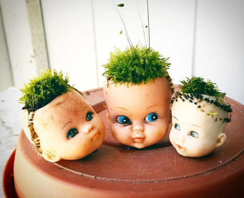 цветочные горшки из кукол