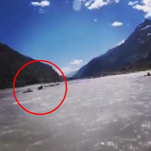 медведь напугал людей в лодках