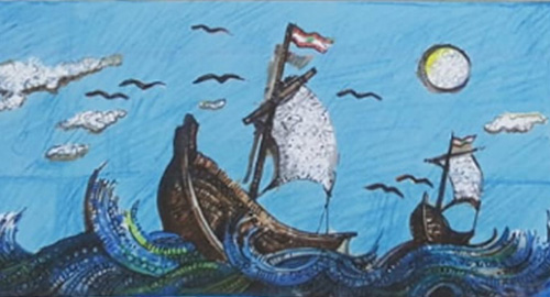 мозаичная картина из мусора