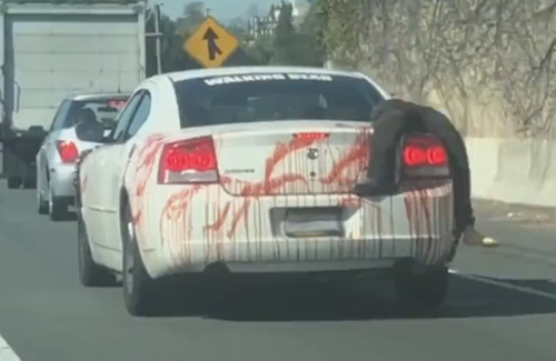 фальшивый труп на автомобиле
