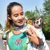 спортсменка нашла щенка на обочине