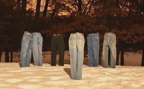 скульптуры из замороженных штанов