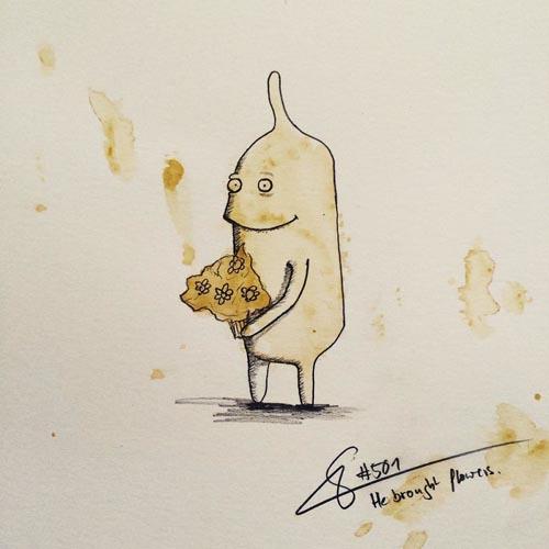 искусство из пролитого кофе
