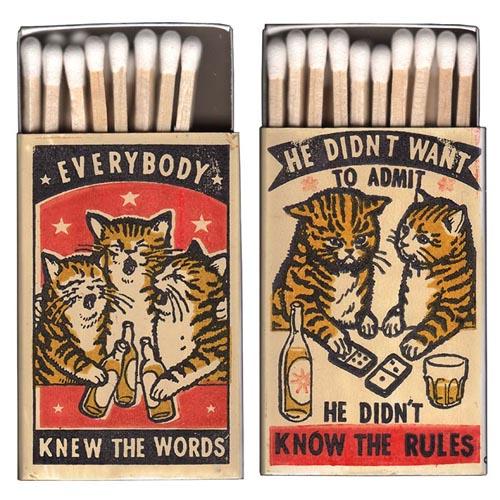 кошки на спичечных коробках