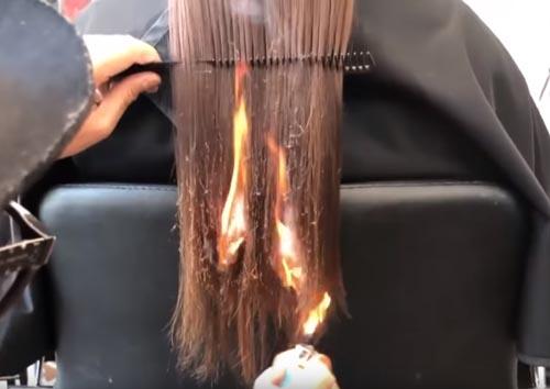 стрижка с помощью огня