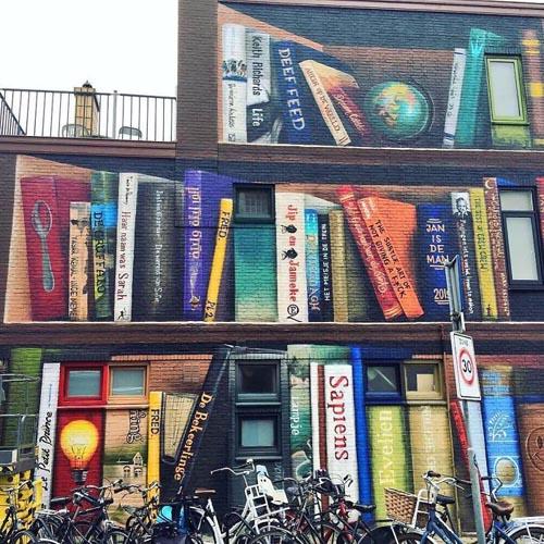 нарисованный книжный шкаф