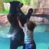 мальчик танцует с медведем