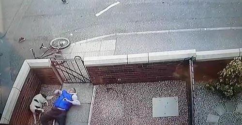 велосипедист упал в чужой сад