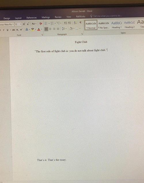 слишком короткое эссе студентки