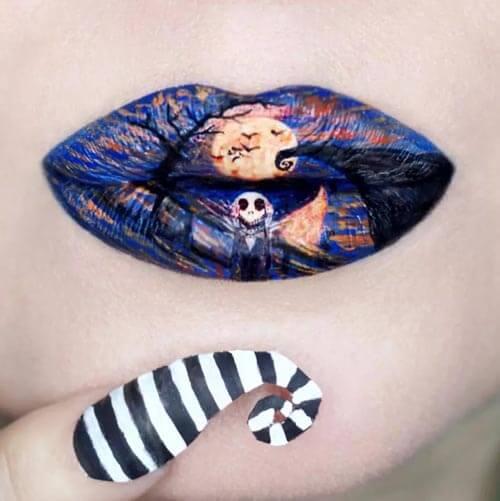 губы превращаются в картины