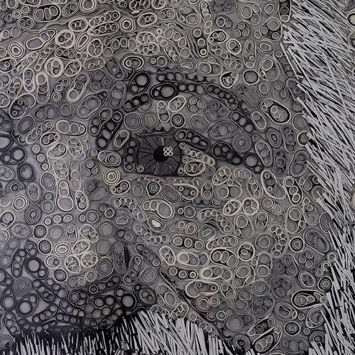 портрет из клейкой ленты