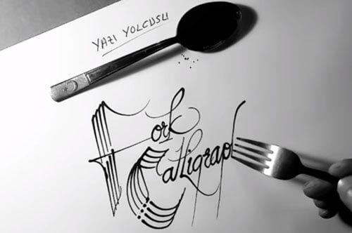 потрясающая каллиграфия вилкой