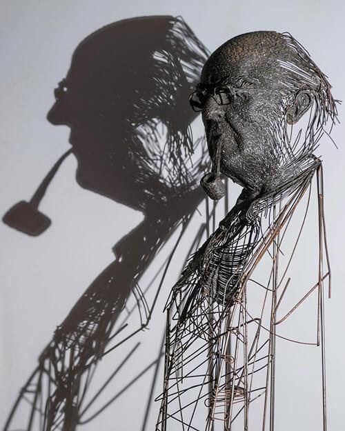 портреты из металлических прутьев