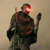 светящиеся глаза скульптуры