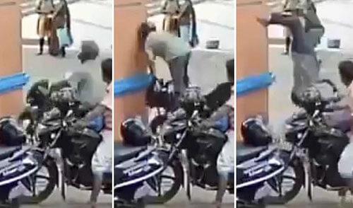 мотоциклист врезался в стену