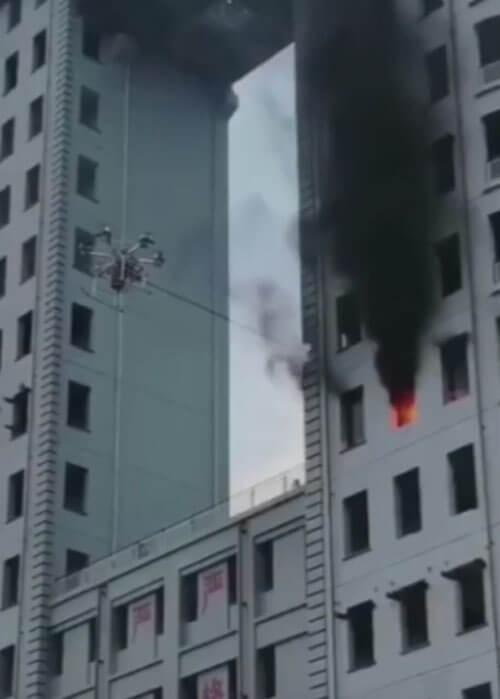 использование дрона против огня