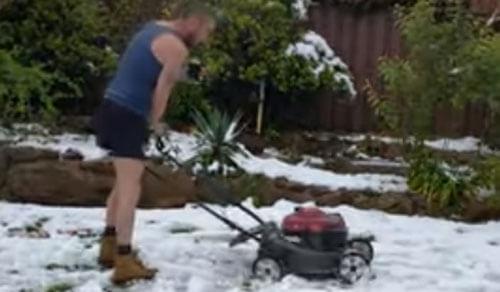 чудак косит газон в снегу