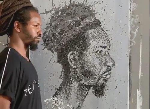 портрет из разбрызганной краски