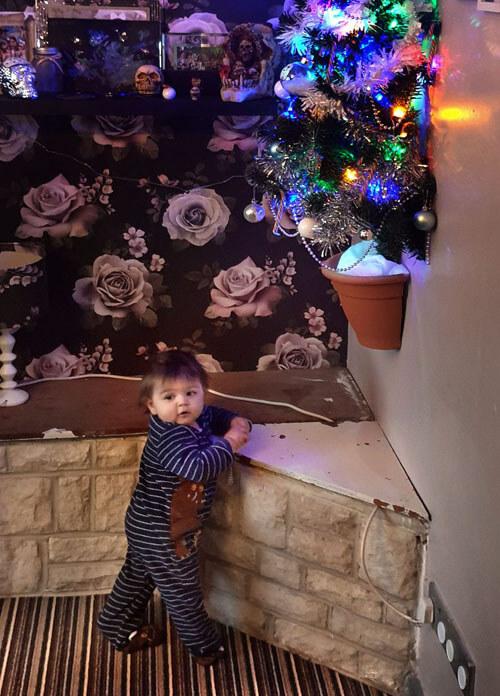 половинка ёлки на стене