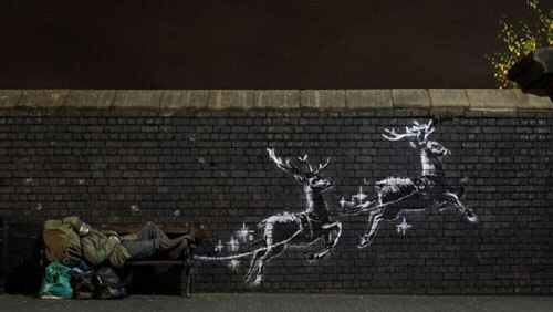 рождественская фреска на стене