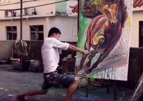 необычная техника художника