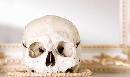 череп на каминной полке