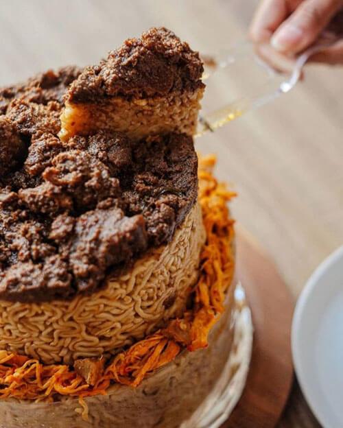 несладкие торты из лапши