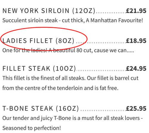 дамский стейк в меню ресторана